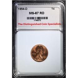 1954-D LINCOLN CENT, TDCS SUPERB GEM BU RED