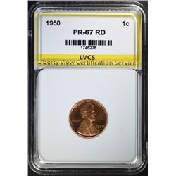 1950 LINCOLN CENT, LVCS SUPERB GEM PROOF RED