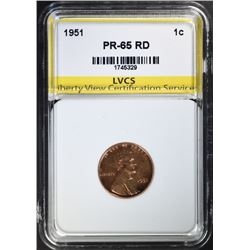 1951 LINCOLN CENT, LVCS GEM PROOF RED