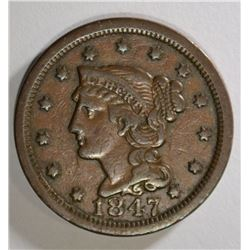1847 LARGE CENT VF+