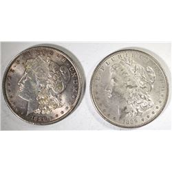 (2) 1889 MORGAN SILVER DOLLARS, AU