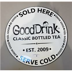 GOOD DRINK TEA TIN SIGN EMBOSSED