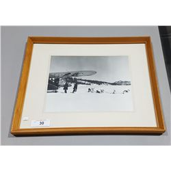 BLACK/WHITE FRAMED AIRPLANE/DOG SLED PRINT