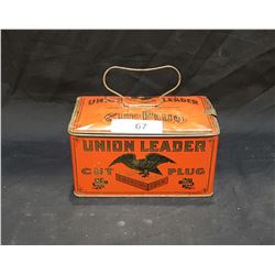 1920'S UNION LEADER CUT PLUG TOBACCO LUNCH PAIL TIN