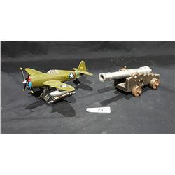 DIE CAST P-47 AIRPLANE & CAST ALUMINUM CANON