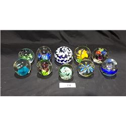 LOT OF 10 ART GLASS PAPERWEIGHTS