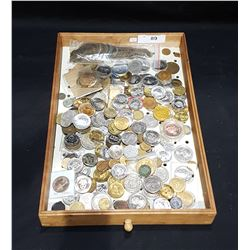 TRAY OF COLLECTIBLE WORLD COINS