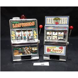 2 MINIATURE TOY SLOT MACHINES