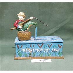 CAST IRON FISHERMAN COIN BANK