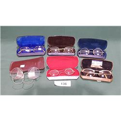 6 PAIRS OF VINTAGE EYE GLASSES W/CASES