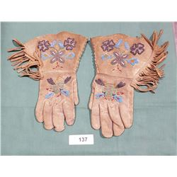 1920'S NATIVE BEADED LEATHER GLOVES