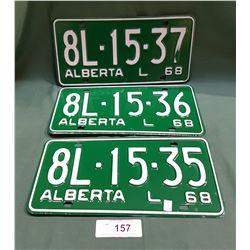 1968 ALBERTA LICENSE PLATES NEVER USED