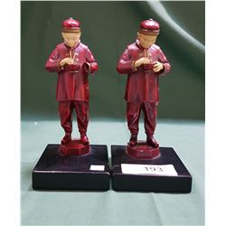 PAIR METAL ASIAN FIGURAL BOOKENDS