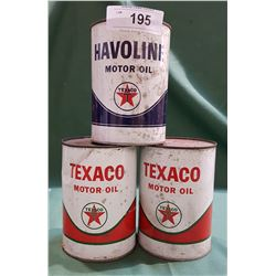 3 FULL VINTAGE TEXACO OIL CANS