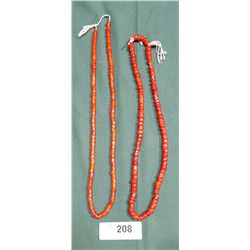 2 STRANDS OF LATE CASED GLASS TRADE BEAD NECKLACES
