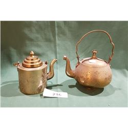 2 SMALL ASIAN MOTIF FLOWERED BRASS TEA POTS