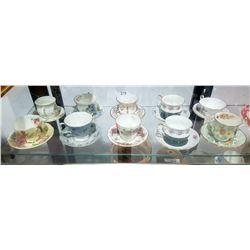 10 ENGLISH BONE CHINA TEACUPS/SAUCERS
