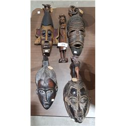 5 AFRICAN MASKS & CARVED WOODEN FIGURE