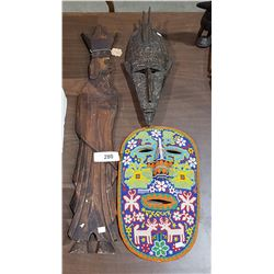 3 AFRICAN MASKS & WOOD WALL PLAQUE
