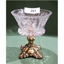 PINWHEEL CRYSTAL BOWL ON ORNATE BRASS PEDESTAL