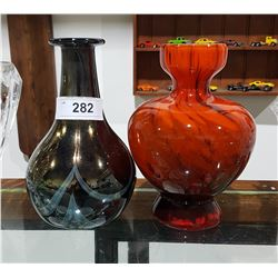 2 ART GLASS VASES