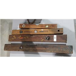 4 ANTIQUE WOOD LEVELS