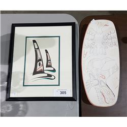 SIGNED DANNY DENNIS PRINT & NATIVE PAINTED DISH