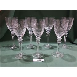 BEAUTIFUL SET OF 7 HANDCRAFTED LEAD CRYSTAL STEMWARE