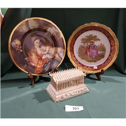 MODEL OF PARTHENON & COLLECTIBLE PICTURE CHINA PLATES