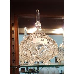 LIDDED CRYSTAL CANDY DISH