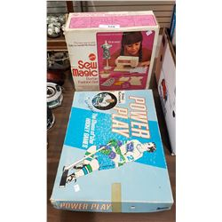 VINTAGE BARBIE SEWING MACHINE & CANUCKS BOARD GAME