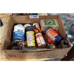 BOX MISC VINTAGE TIRE PATCH KITS, SMALL TINS ETC