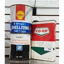 3 VINTAGE TINS, 1 GALLON GM, 1 GALLON SHELL & CO-OP