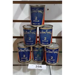 6 VINTAGE FRICTION FIGHTER OIL TINS