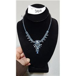 VINTAGE STERLING SILVER & BLUE CRYSTAL NECKLACE