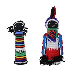 Traditional African Sangoma Ndebele Zulu Dolls -2 Diviners with Ancestral Spirit