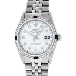 Rolex Mens Stainless Steel White Diamond And Sapphire Datejust Wristwatch