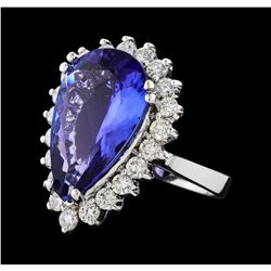 GIA Cert 8.74 ctw Tanzanite and Diamond Ring - 14KT White Gold