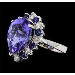 11.38 ctw Tanzanite, Sapphire and Diamond Ring - 14KT White Gold