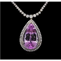 14KT White Gold 80.08 ctw Kunzite and Diamond Pendant With Chain