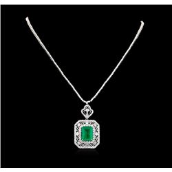 11.69 ctw Emerald and Diamond Necklace - 18KT White Gold