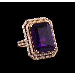 14KT Rose Gold 14.36 ctw Amethyst and Diamond Ring