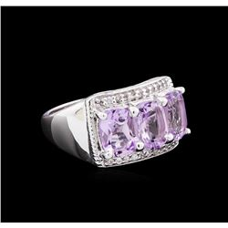 Crayola 2.10 ctw Pink Amethyst and White Sapphire Ring - .925 Silver