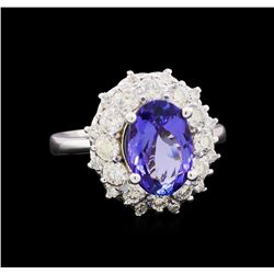 3.23 ctw Tanzanite and Diamond Ring - 14KT White Gold