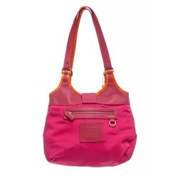 Coach Pink Canvas Leather Trim Shoulder Bag