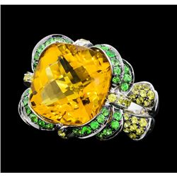8.75 ctw Citrine, Tsavorite and Lemon Quartz Ring - 18KT White Gold