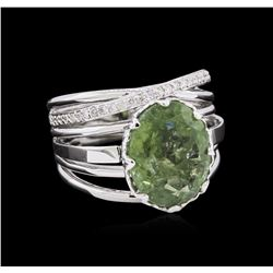 4.70 ctw Green Tourmaline and Diamond Ring - 14KT White Gold