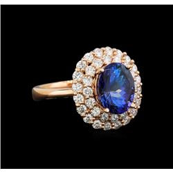 14KT Rose Gold 2.93 ctw Tanzanite and Diamond Ring