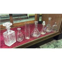 Collection of 7 Antique Whiskey Decanters and