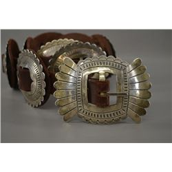 Potawatomi Diamond slot Concho belt by Woody Crumbo